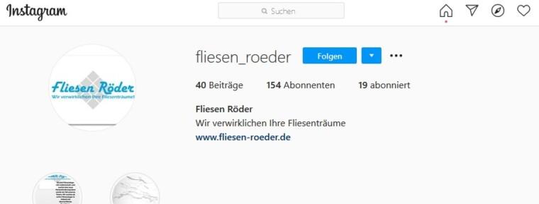 Wir sind jetzt auch auf Instagram und Facebook. Folgt uns doch ganz einfach @fliesen_roeder